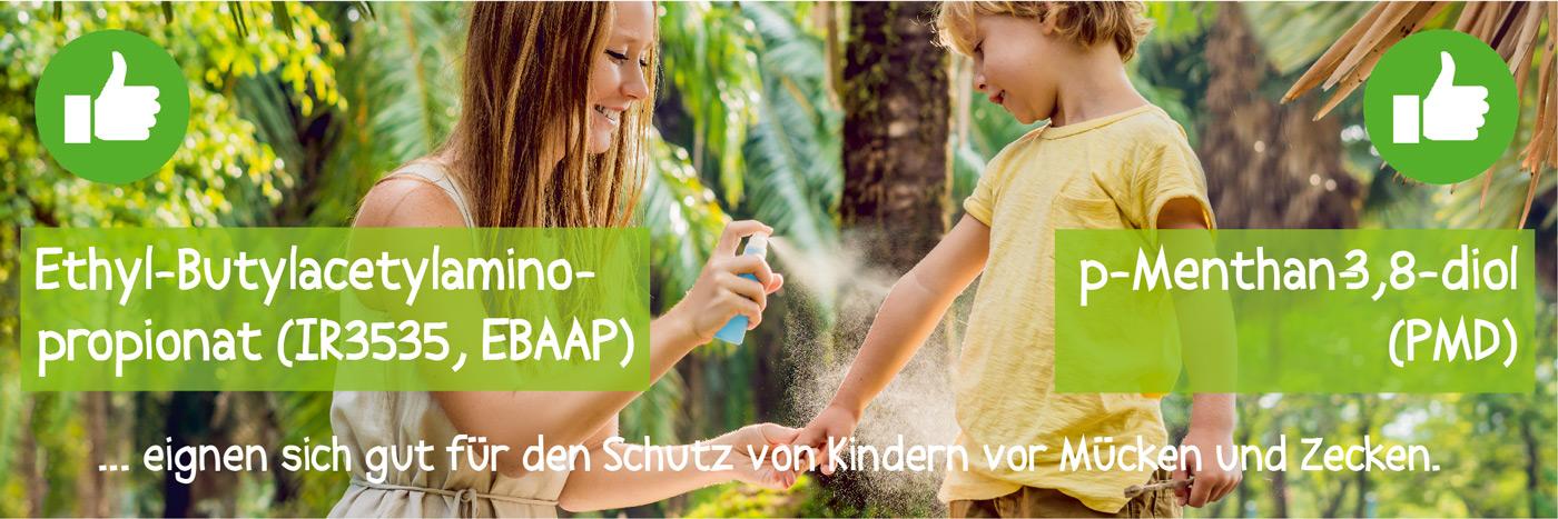 Empfehlenswerte Repellents für Kinder